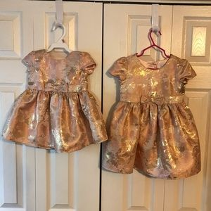 2 Desses 3T and 12-18mos Rosegold Holiday Dress